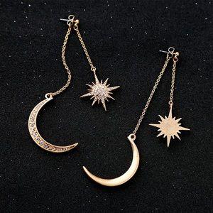 Moon and Sun Gold Earrings